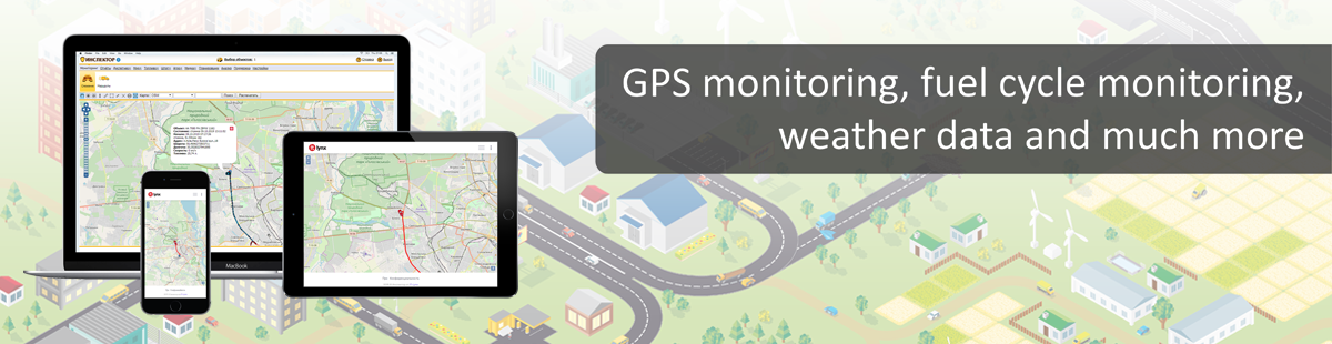 GPS monitoring, fuel cycle monitoring, weather data and much more.